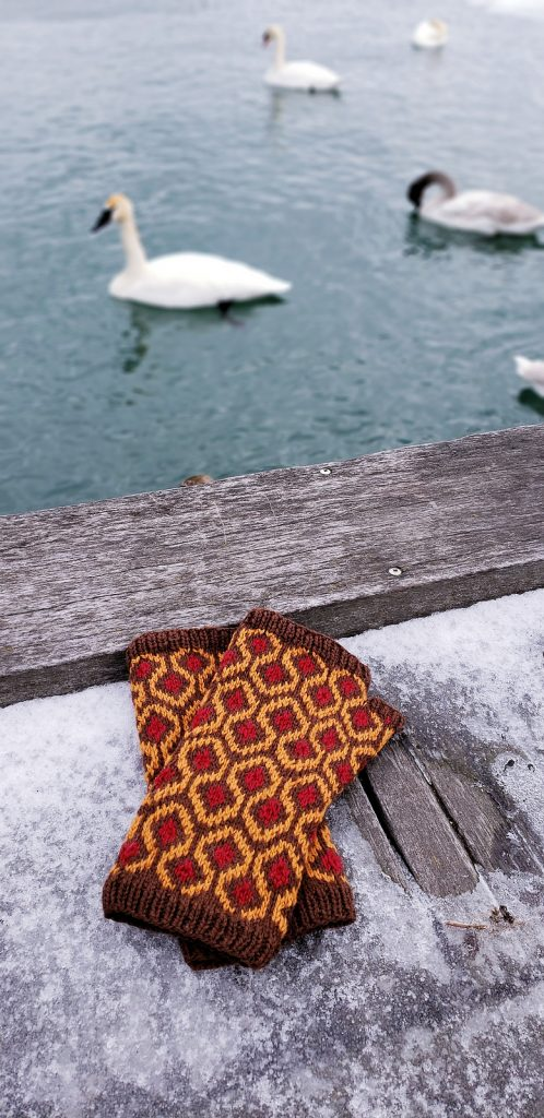 A pair of  mitts featuring the pattern from the famous carpet in THE SHINING lying on a pier next to a lake with geese in the background.a