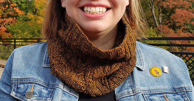 A woman wearing a brown cabled cowl.