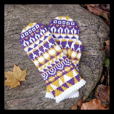 A pair of purple, yellow, and white mittens with all over geometric shapes.
