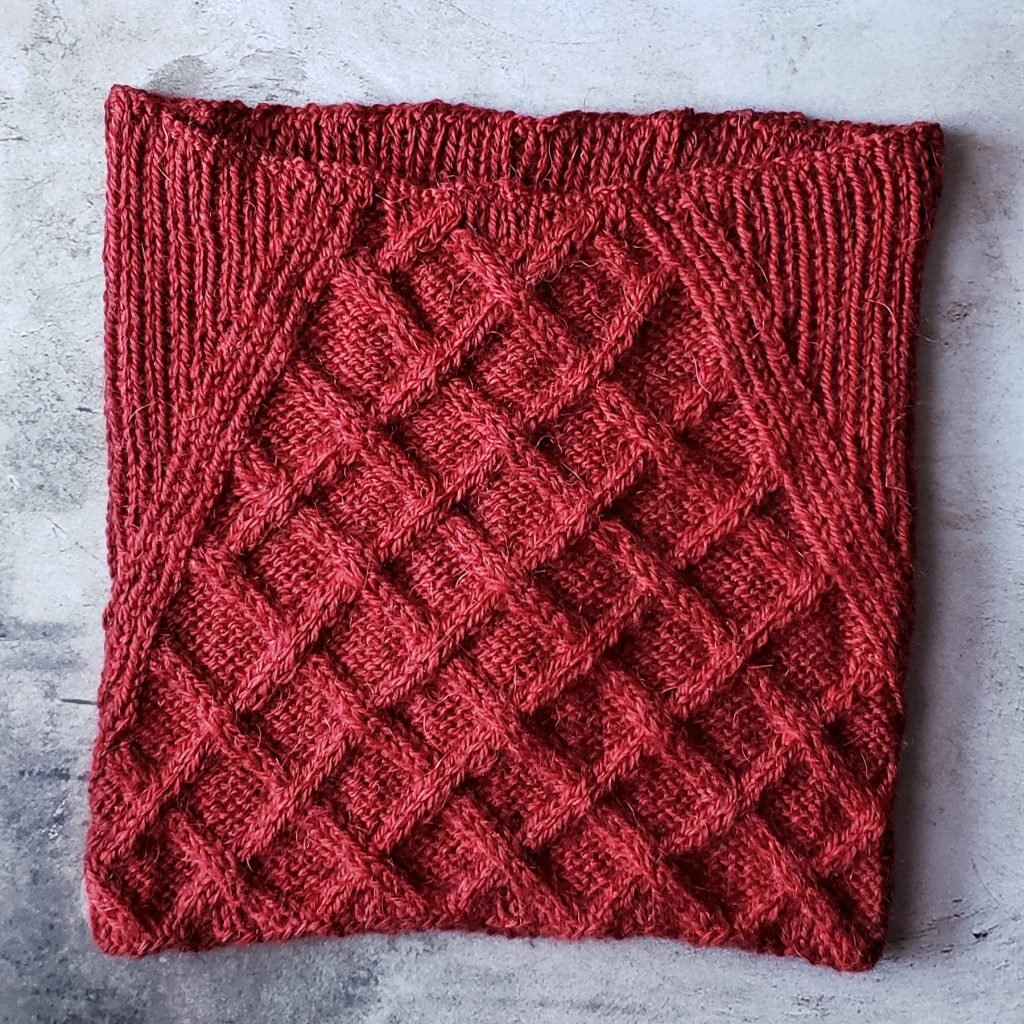 Slim cowl with cables and ribbing.