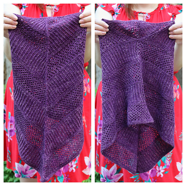 A purple cowl with ribbing and lace shown from the front and the back in two side-by-side images.